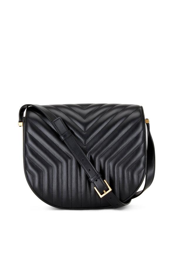 Saint Laurent New Joan Black Matelassé Satchel Bag