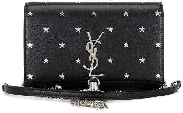 Saint Laurent Kate Black Star Embossed Tassel Chain Wallet