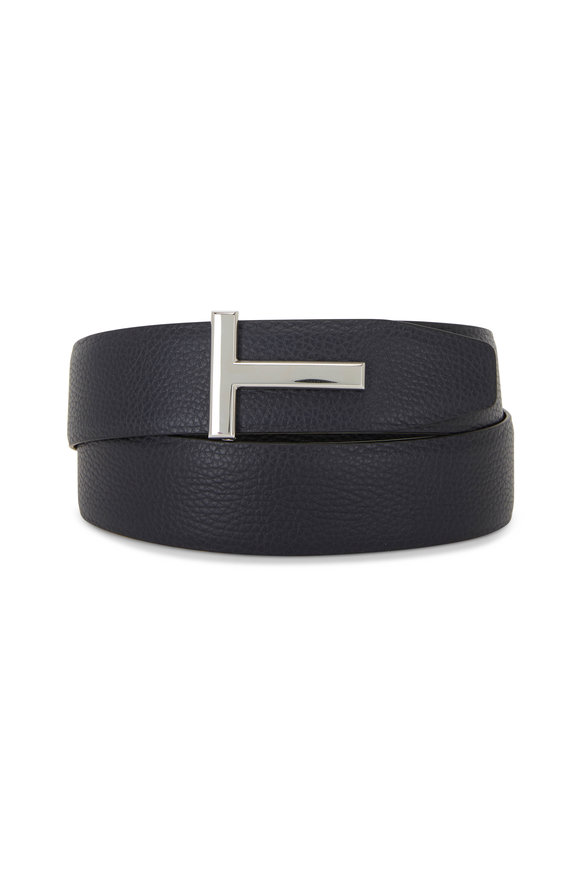 Tom Ford Navy & Black Leather Reversible Logo Belt
