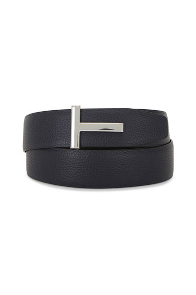 Tom Ford - Navy & Black Leather Reversible Logo Belt