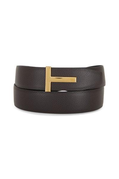 Tom Ford - Brown & Black Leather Reversible Logo Belt