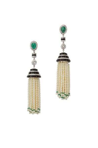 Loren Jewels - White Gold Emerald Pearl Diamond Tassel Earrings