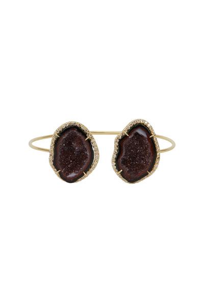 Kimberly McDonald - Yellow Gold Dark Red Geode Diamond Bracelet