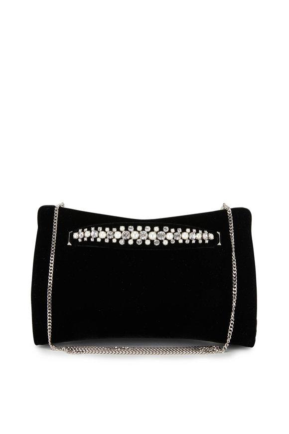 Jimmy Choo Venus Black Velvet Pearl & Crystal Bracelet Clutch