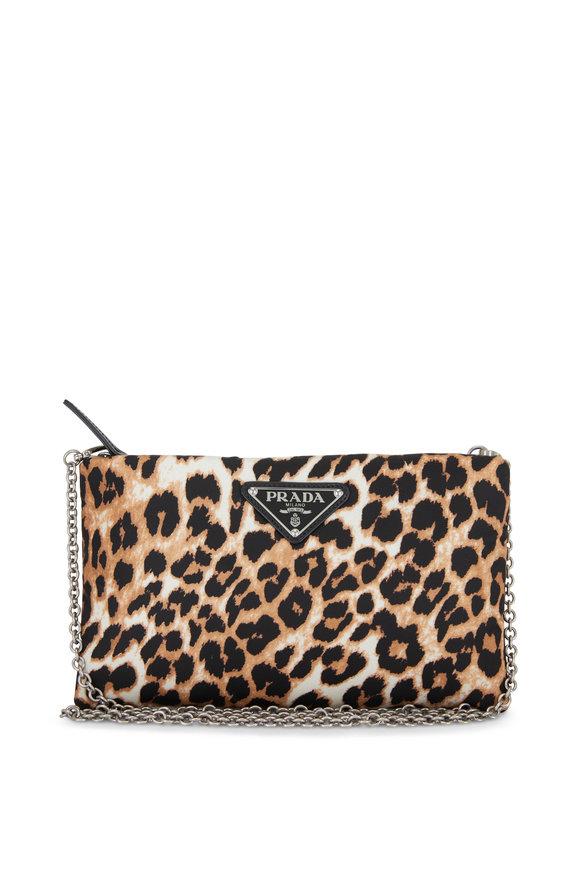 Prada Leopard Print Tessuto Chain Pouch