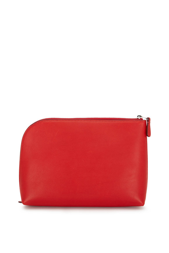 The Row Ruby Red Leather Medium Pochette