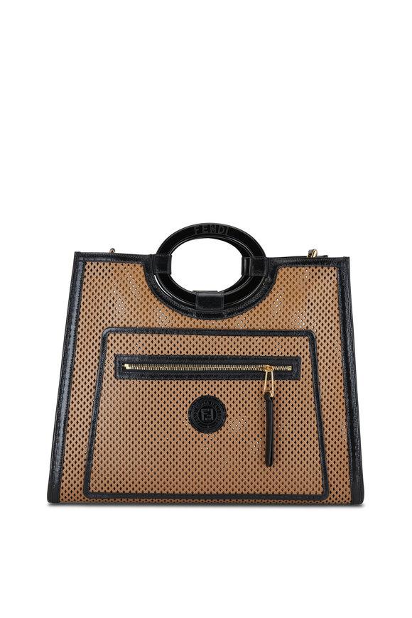 Fendi Runaway Brown Perforated Leather Medium Tote