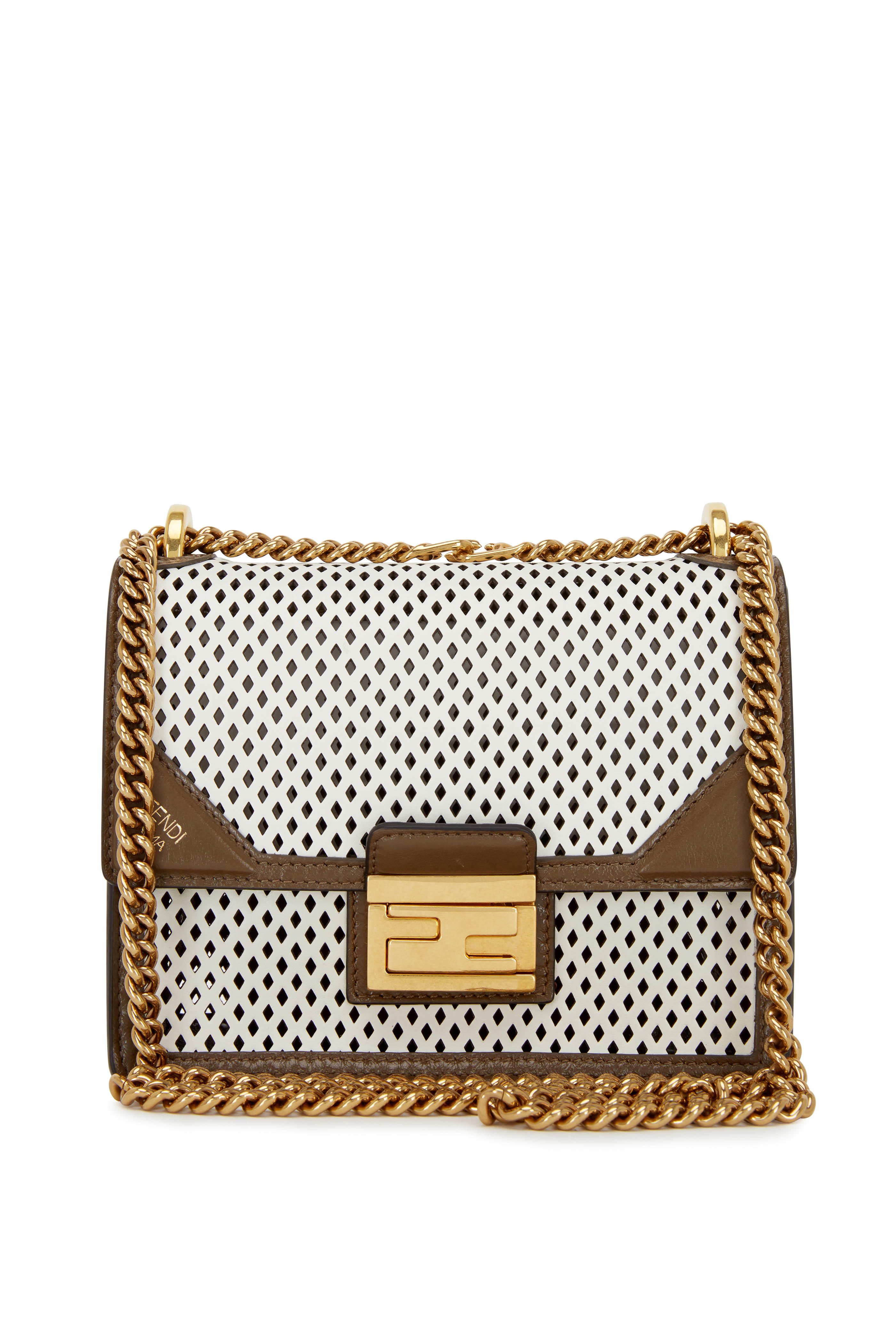 d9e0a1c2 Fendi - Kan U White & Brown Perforated Leather Small Bag | Mitchell ...