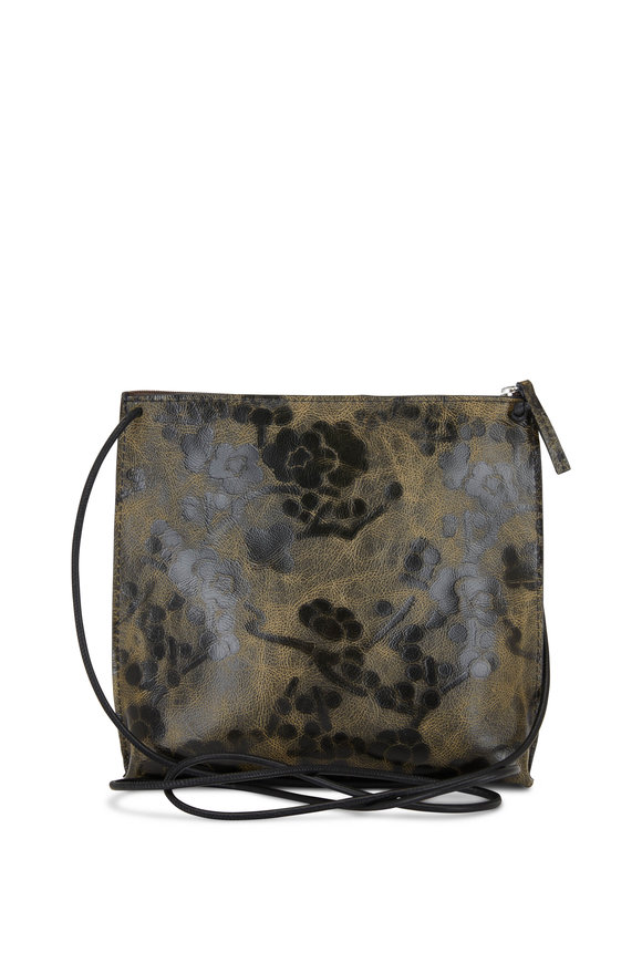 B May Bags Hazel Blossom Embossed Leather Strappy Pouch