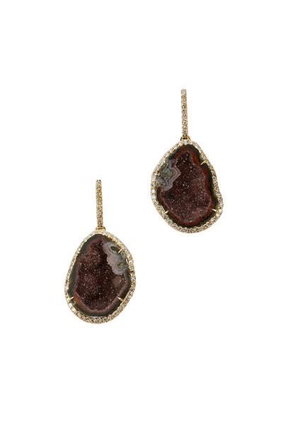 Kimberly McDonald - Yellow Gold Geode Diamond Earrings