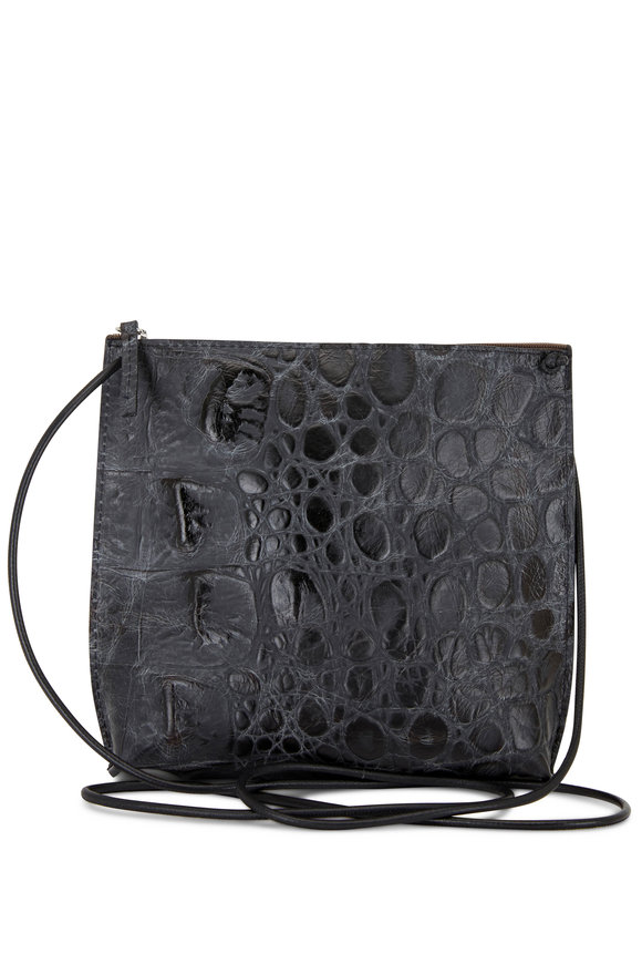 B May Bags Black Croc Embossed Leather Strappy Pouch
