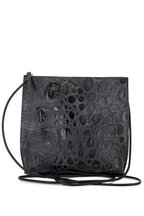 B May Bags - Black Croc Embossed Leather Strappy Pouch