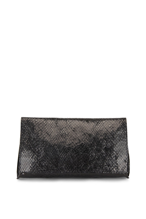 B May Bags Black Snakeskin Print Foldover Clutch