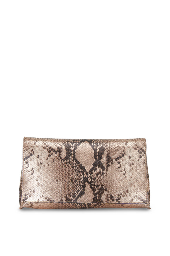 B May Bags Blush Snakeskin Print Foldover Clutch