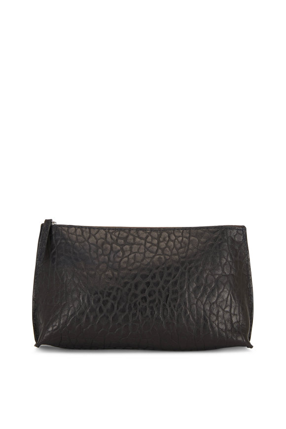 B May Bags Black Croc Embossed Sheepskin Essential Pouch