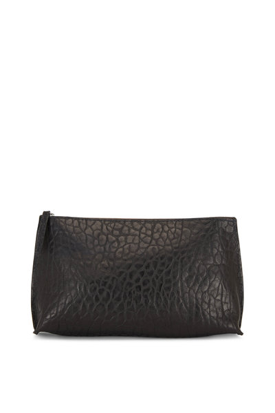 B May Bags - Black Croc Embossed Sheepskin Essential Pouch