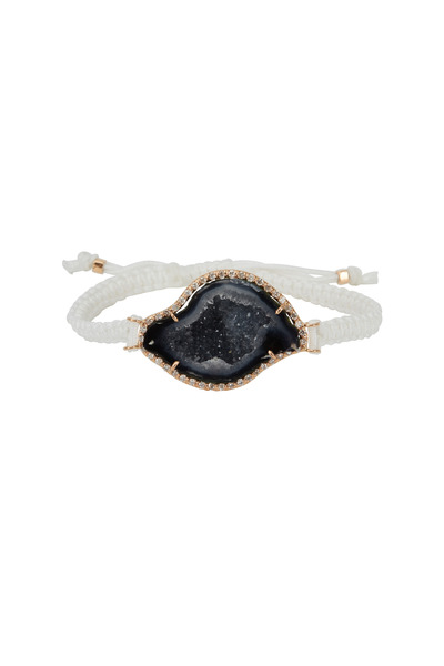 Kimberly McDonald - Rose Gold & Macrame Dark Geode Diamond Bracelet
