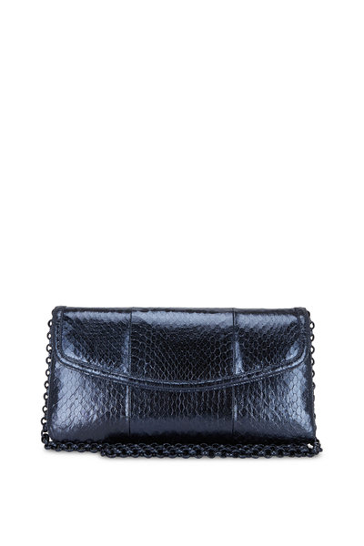 Nancy Gonzalez - Tracy Metallic Navy Blue Snakeskin Clutch