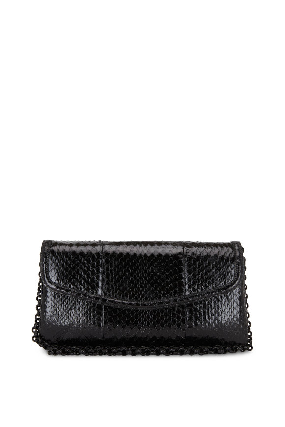 Nancy Gonzalez Tracy Black Snakeskin Clutch