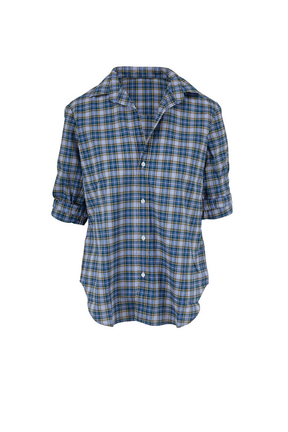 Frank & Eileen Frank Slate Blue & Green Plaid Poplin Button Down