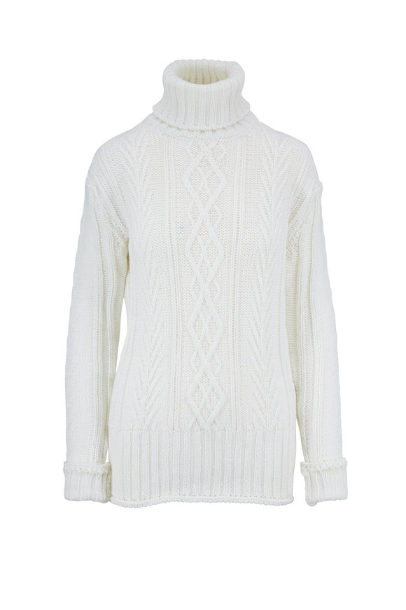 Thom Browne Classic White Wool Aran Cable Knit Turtleneck