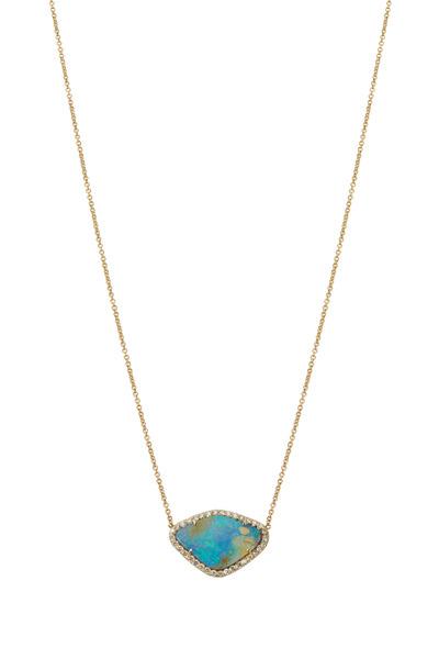 Kimberly McDonald - Yellow Gold Boulder Opal Diamond Necklace