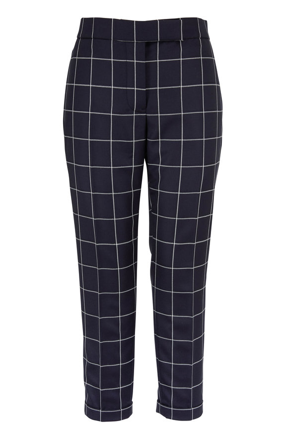 Thom Browne Navy Wool Windowpane Shadow Check Twill Pant