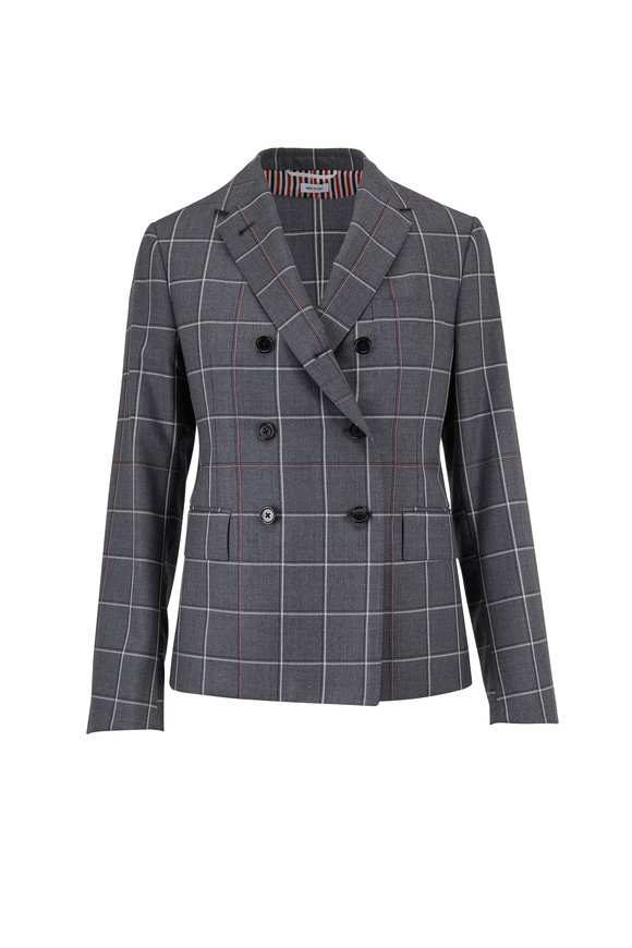 Thom Browne Medium Gray Windowpane Shadow Check Twill Jacket