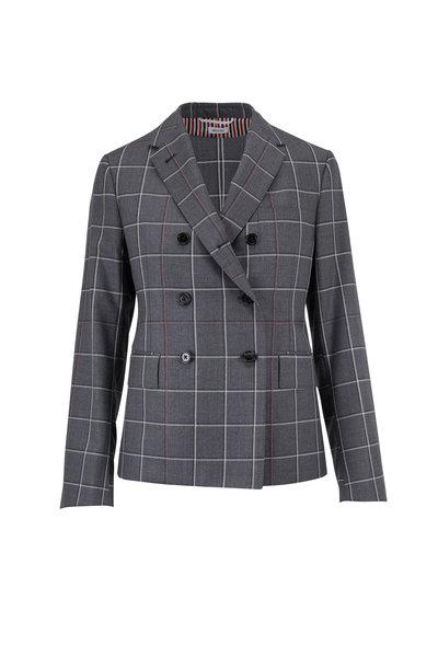 Thom Browne - Medium Gray Windowpane Shadow Check Twill Jacket