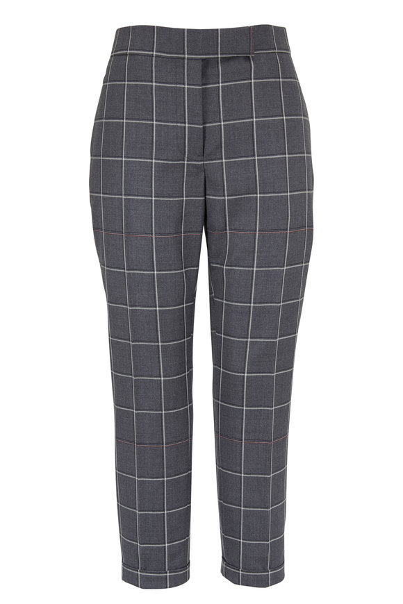 Thom Browne Medium Gray Wool Windowpane Shadow Check Pant