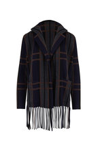 Akris - Navy Multicolor Ribbed Knit Cardigan With Fringe