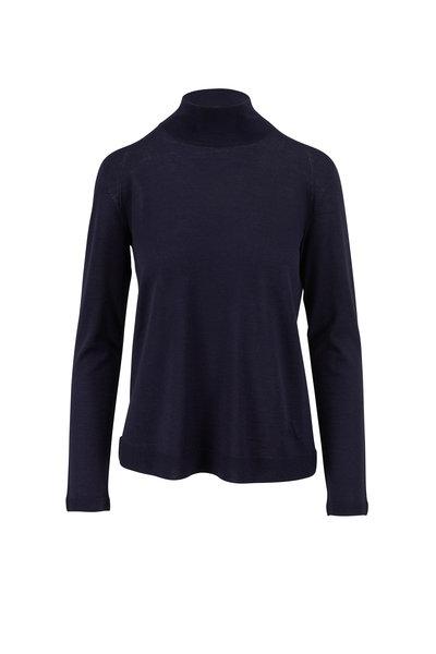 Akris - Navy Cashmere & Silk Mockneck Fine Gauge Knit Top
