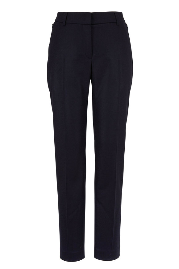 Akris Melvin Navy Flannel Zip Pocket Pant