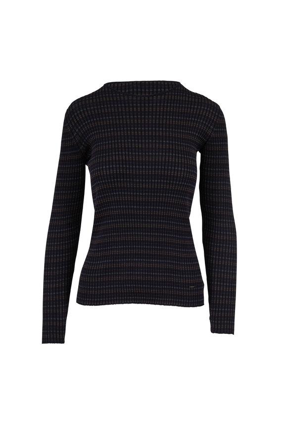 Akris Navy, Bark & Black Silk Ribbed Knit Top