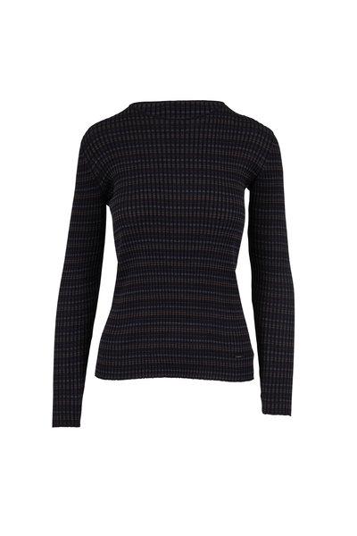 Akris - Navy, Bark & Black Silk Ribbed Knit Top