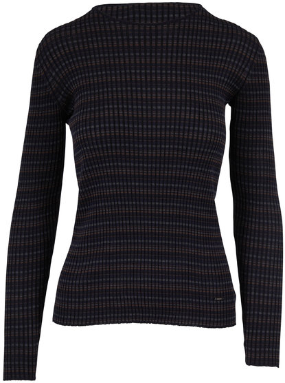 Akris Navy, Bark & Black Silk Ribbed Knit Top