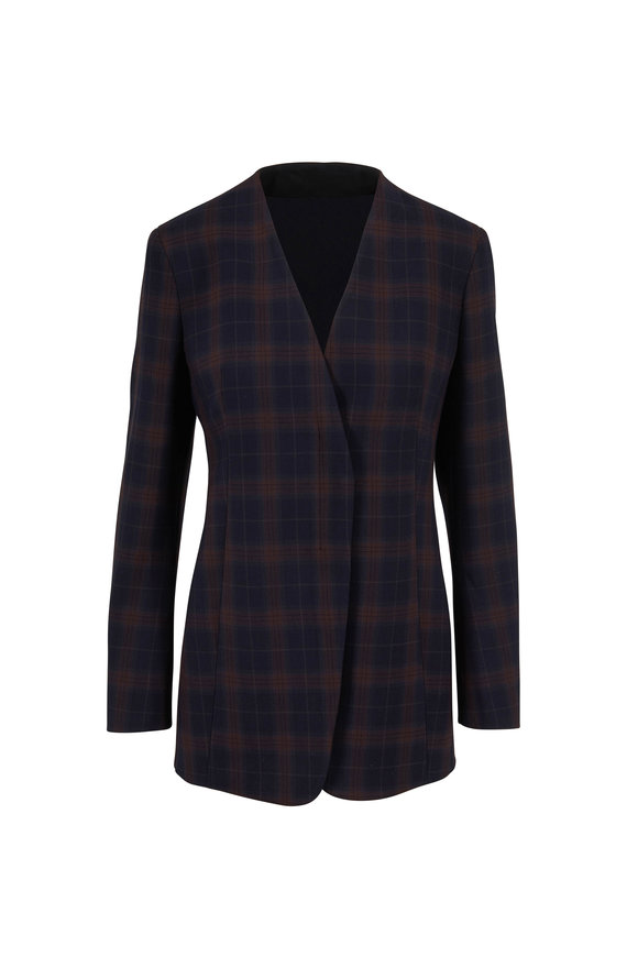 Akris Navy & Bark Plaid Zip Front Jacket