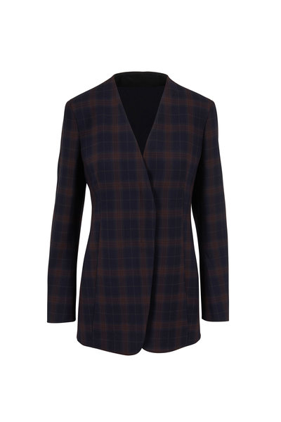 Akris - Navy & Bark Plaid Zip Front Jacket