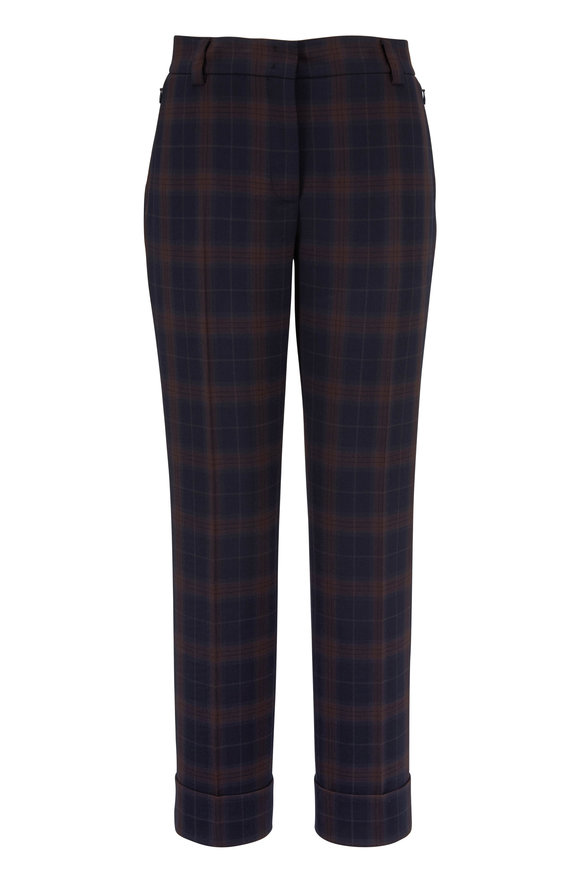 Akris Maxima Navy & Bark Plaid Pant