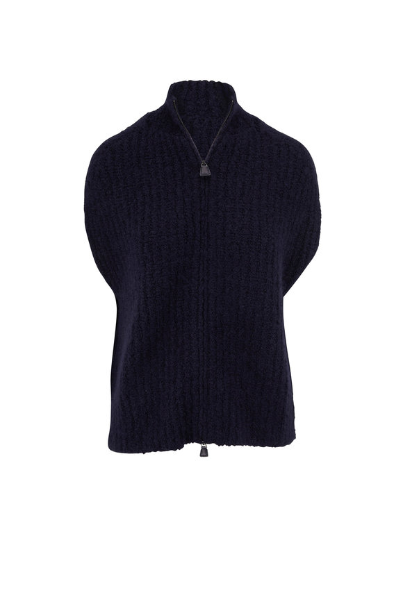 Akris Navy Cashmere & Silk Boucle Knit Gilet