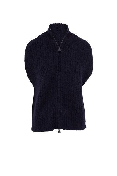 Akris - Navy Cashmere & Silk Boucle Knit Gilet