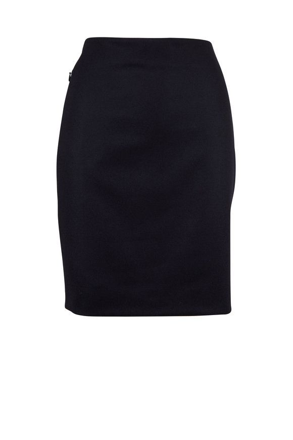 Akris Navy Flannel Zip Pocket Pencil Skirt