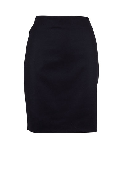 Akris - Navy Flannel Zip Pocket Pencil Skirt