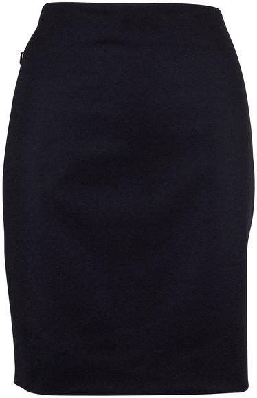 Akris Navy Flannel Zip Pocket Pencil Skirt