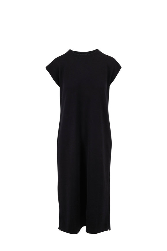 Akris Black & Pine Cashmere & Silk Reversible Long Tunic