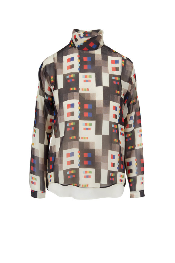Akris Multicolor Colorama Print Silk Blouse