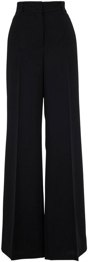 Akris Black Wool Wide Leg High-Rise Pant