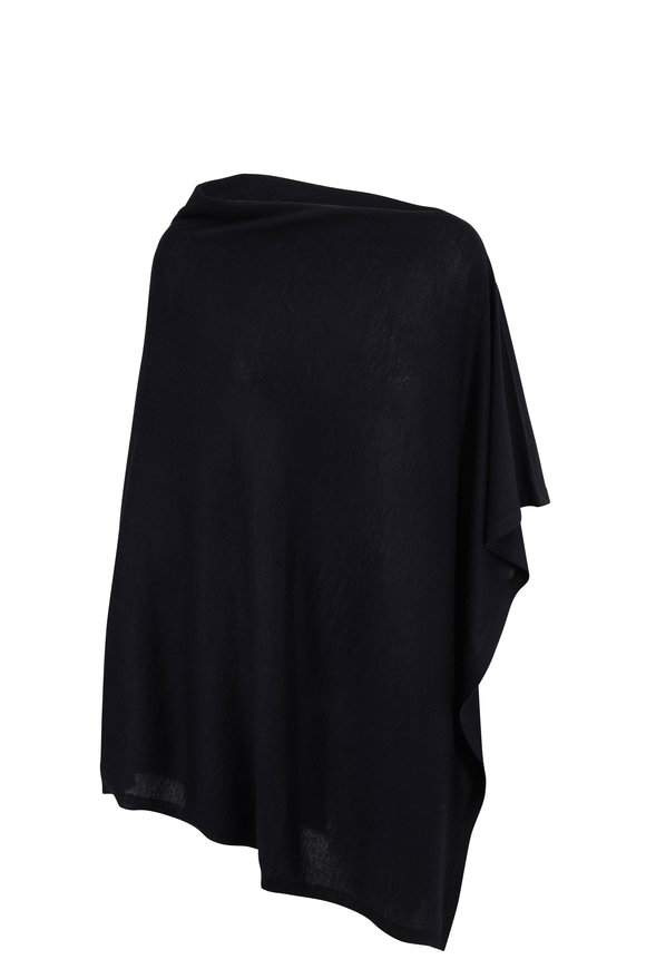 Le Kasha Bhutan Black Cashmere Fine Knit Poncho