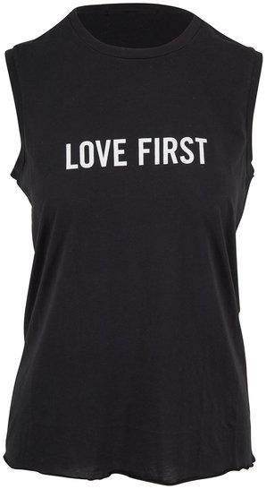 Nili Lotan Black Love First Graphic Muscle Tee
