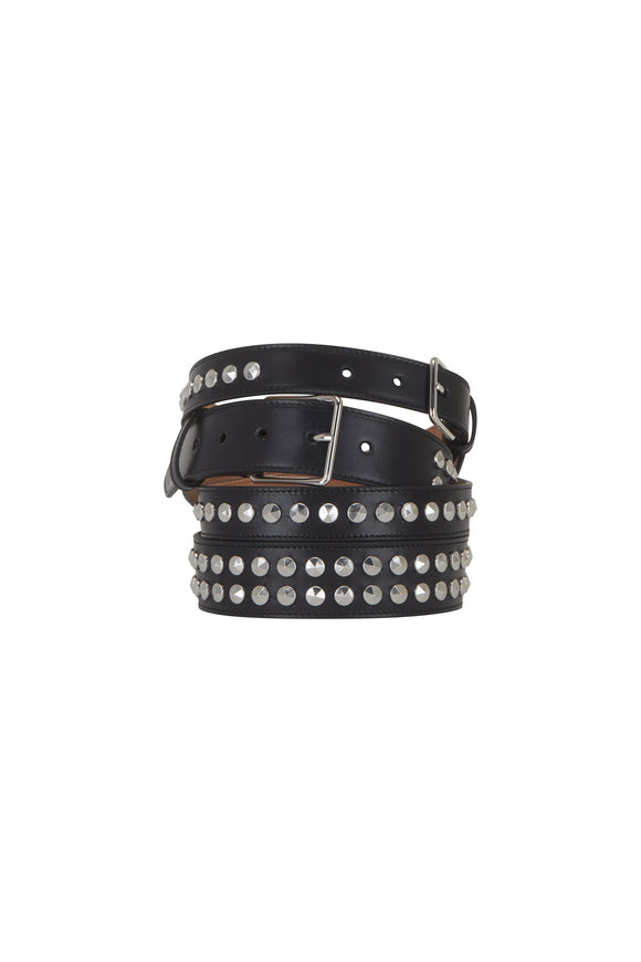 Alexander McQueen Black Leather Studded Double Layered Belt